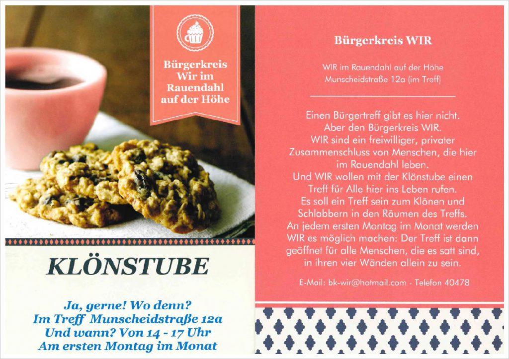 Klönstube - Bürgerkreis WIR @ Treff Rauendahl