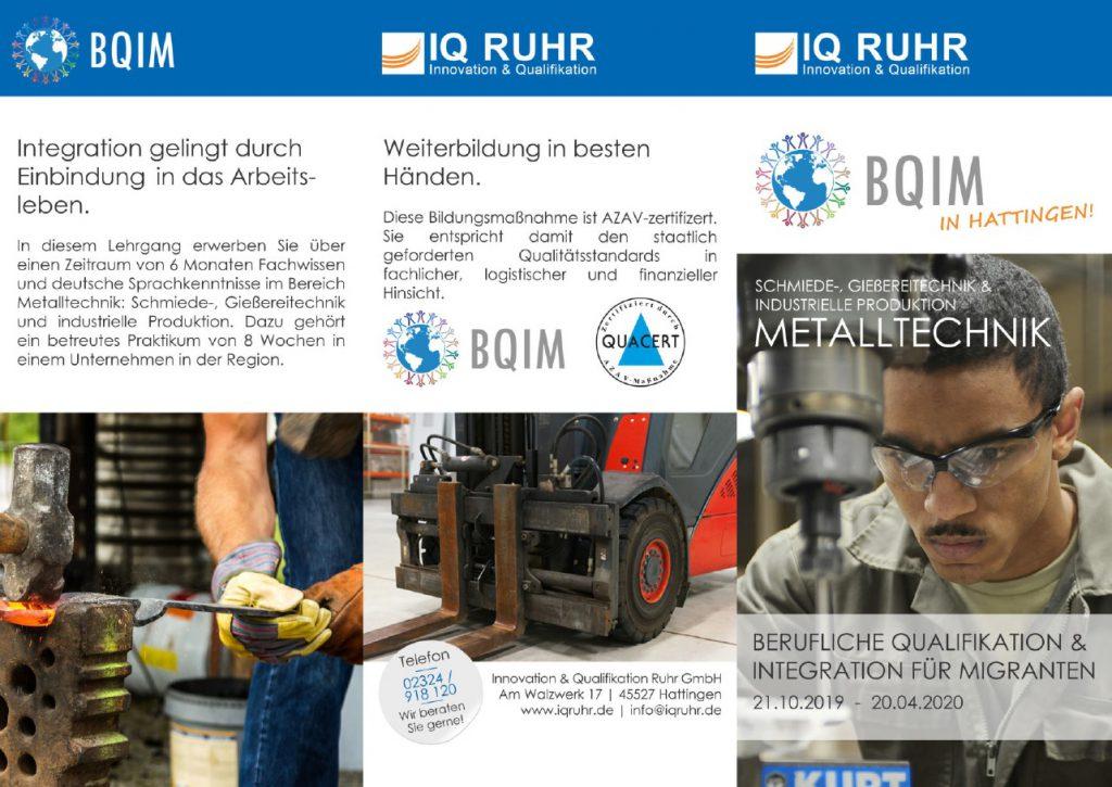 IQ Ruhr Kurse für Migranten: Qualifizierungen im Bereich Metalltechnik @ IQ Ruhr Hattingen
